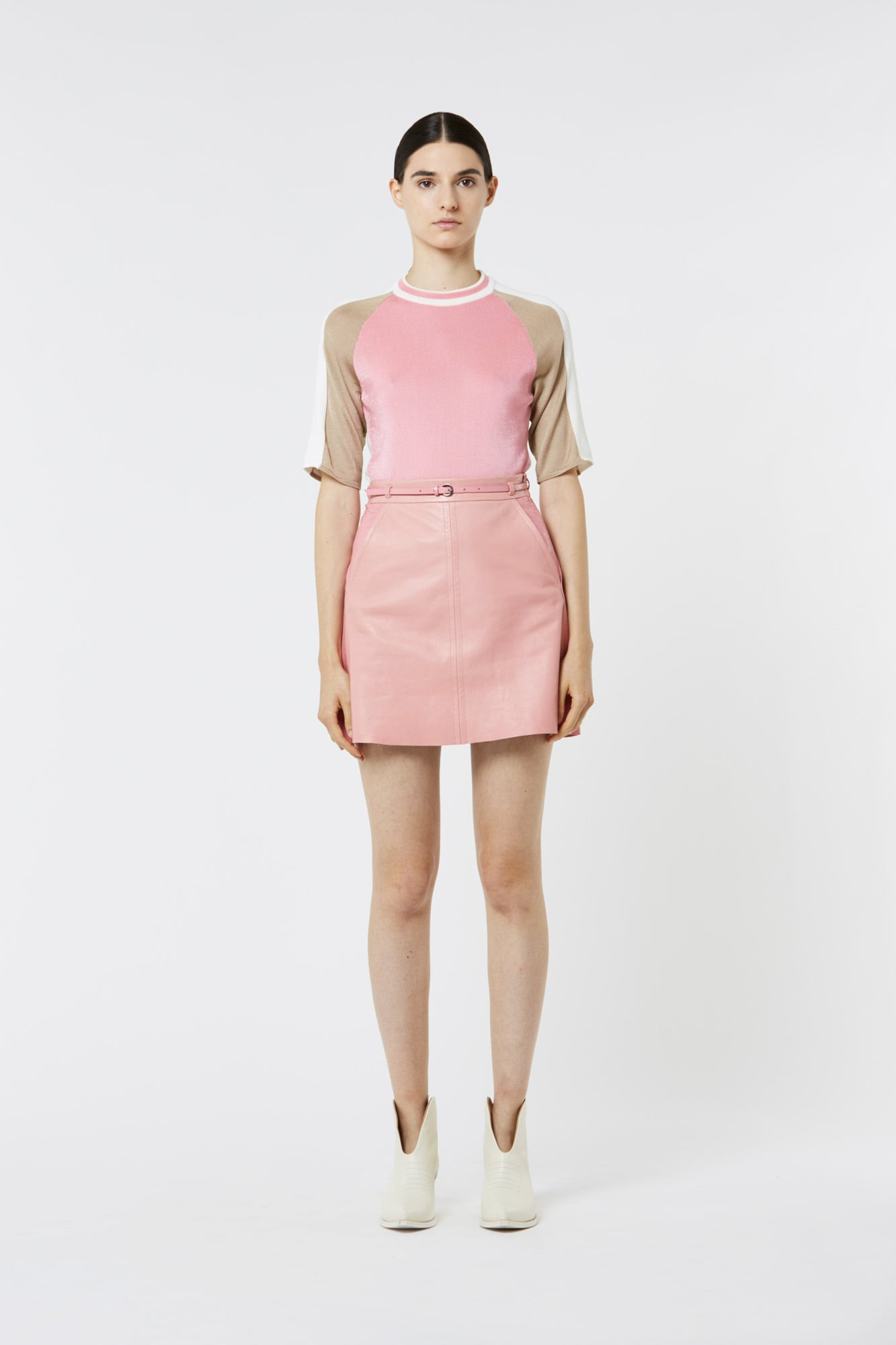 Pink Belted Leather Mini Skirt