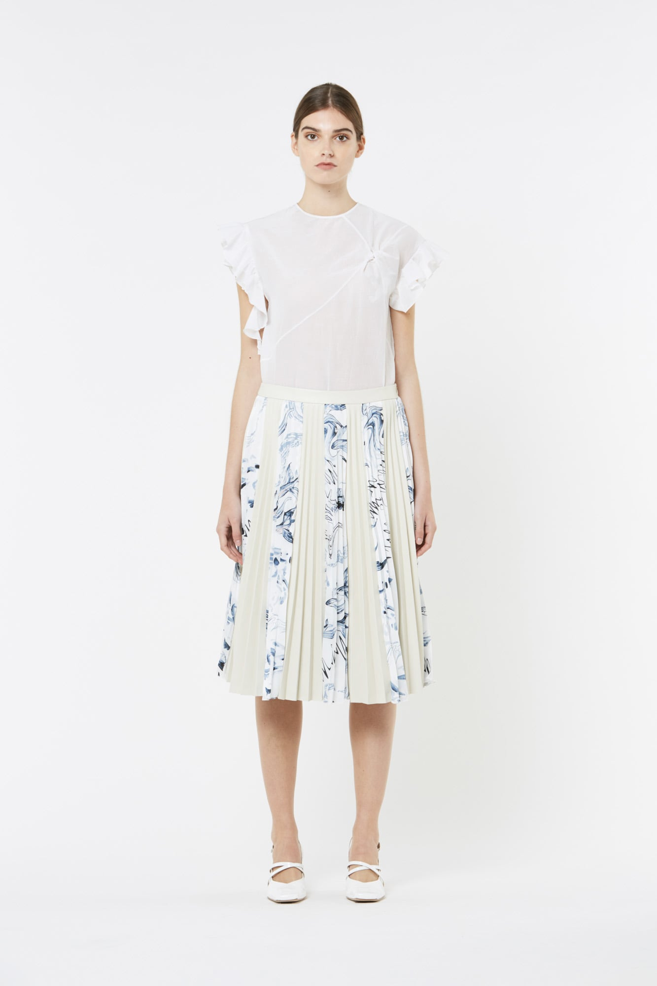 White Leather And Printed Twill Skirt
