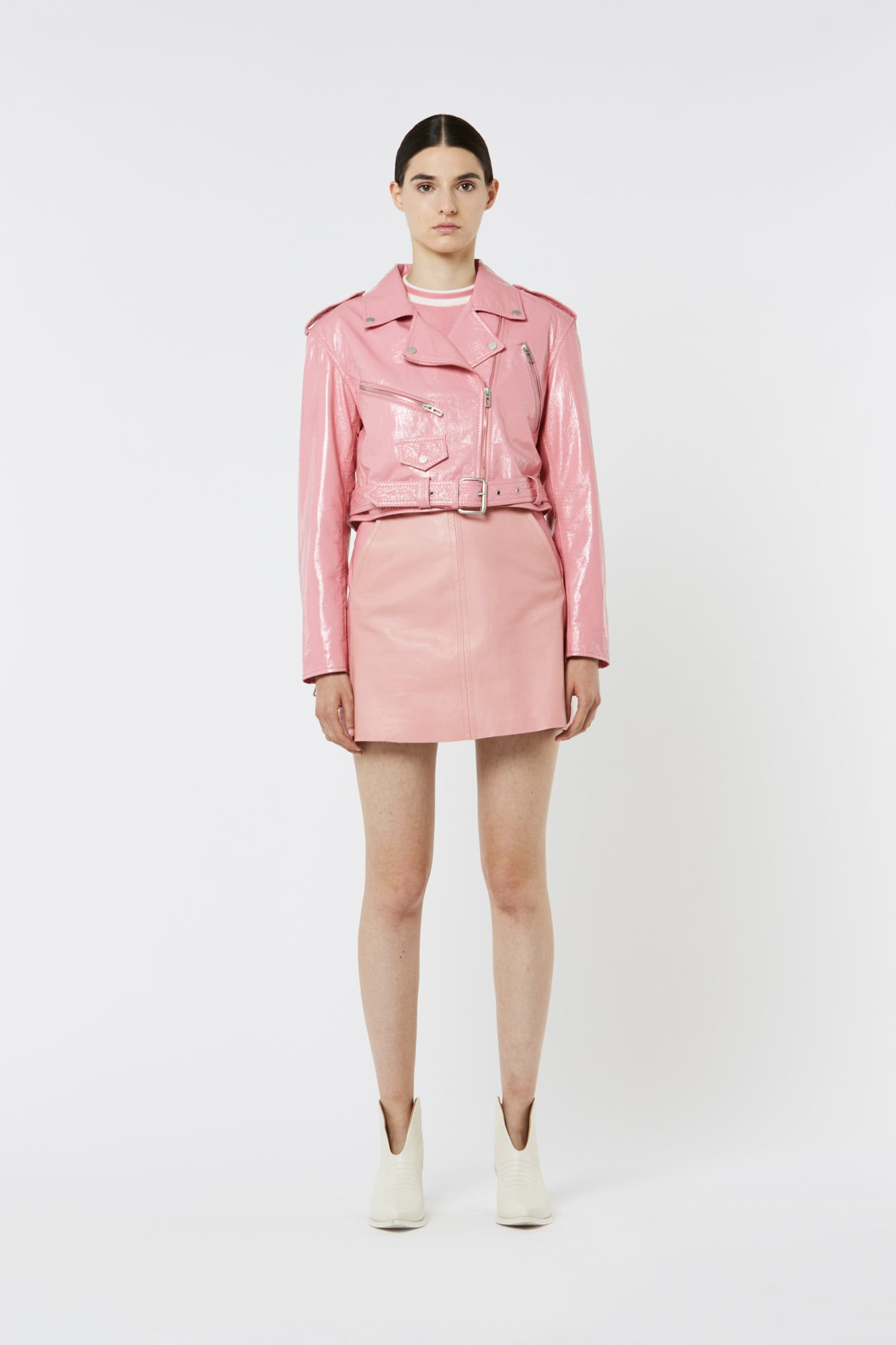 Pink Nylon Leather Biker Jacket