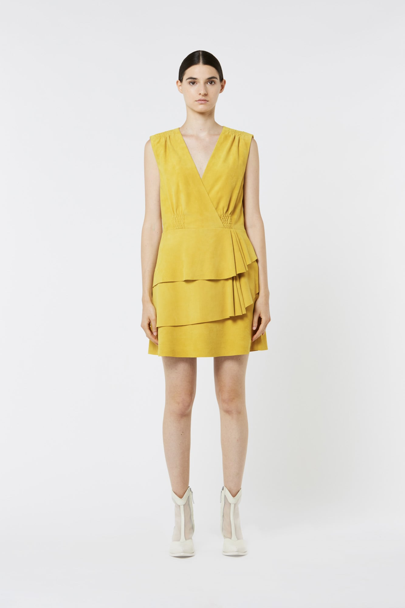 Yellow Suede Sleeveless Dress