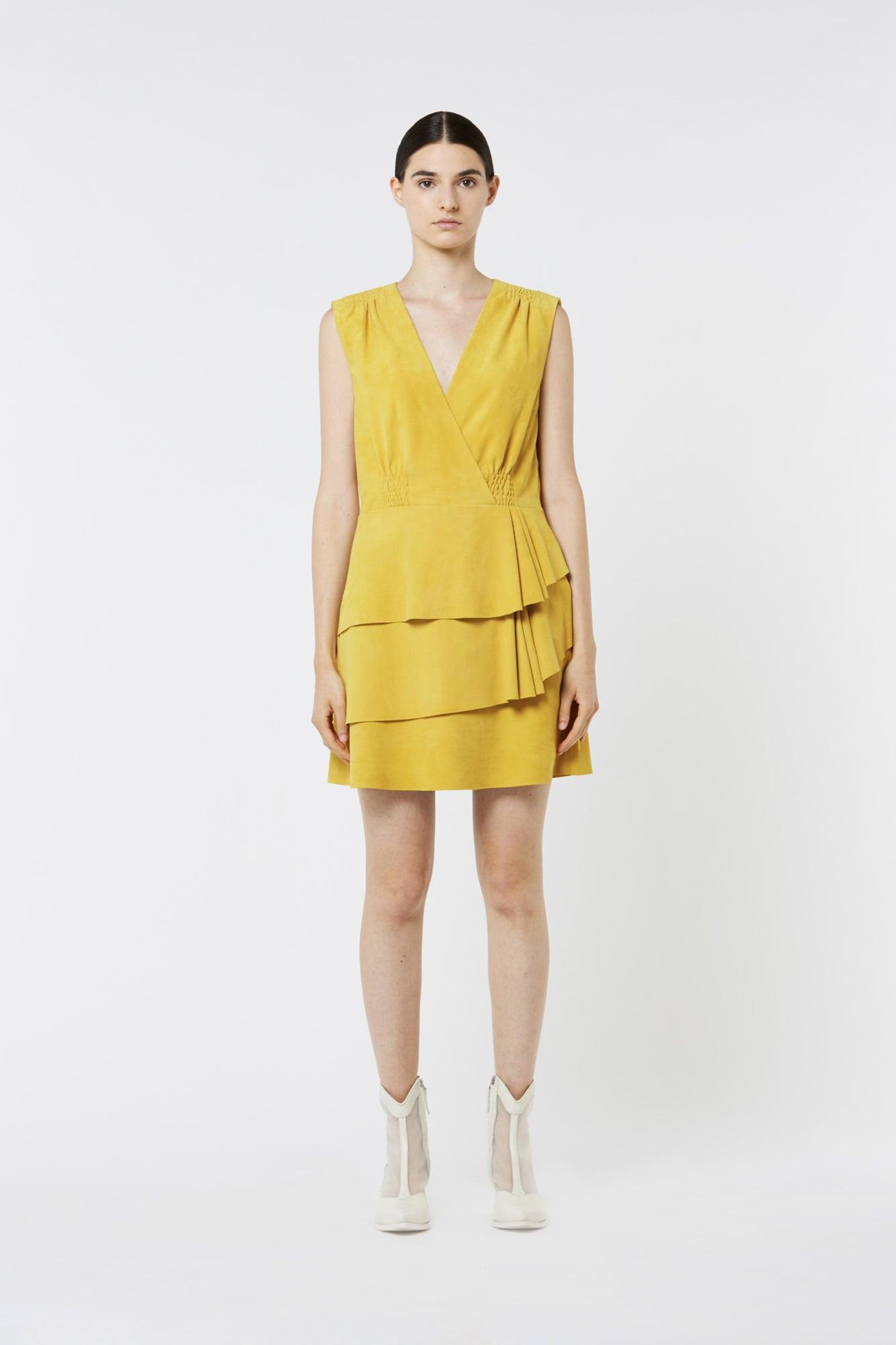 Yellow Suede Sleeveless Dress