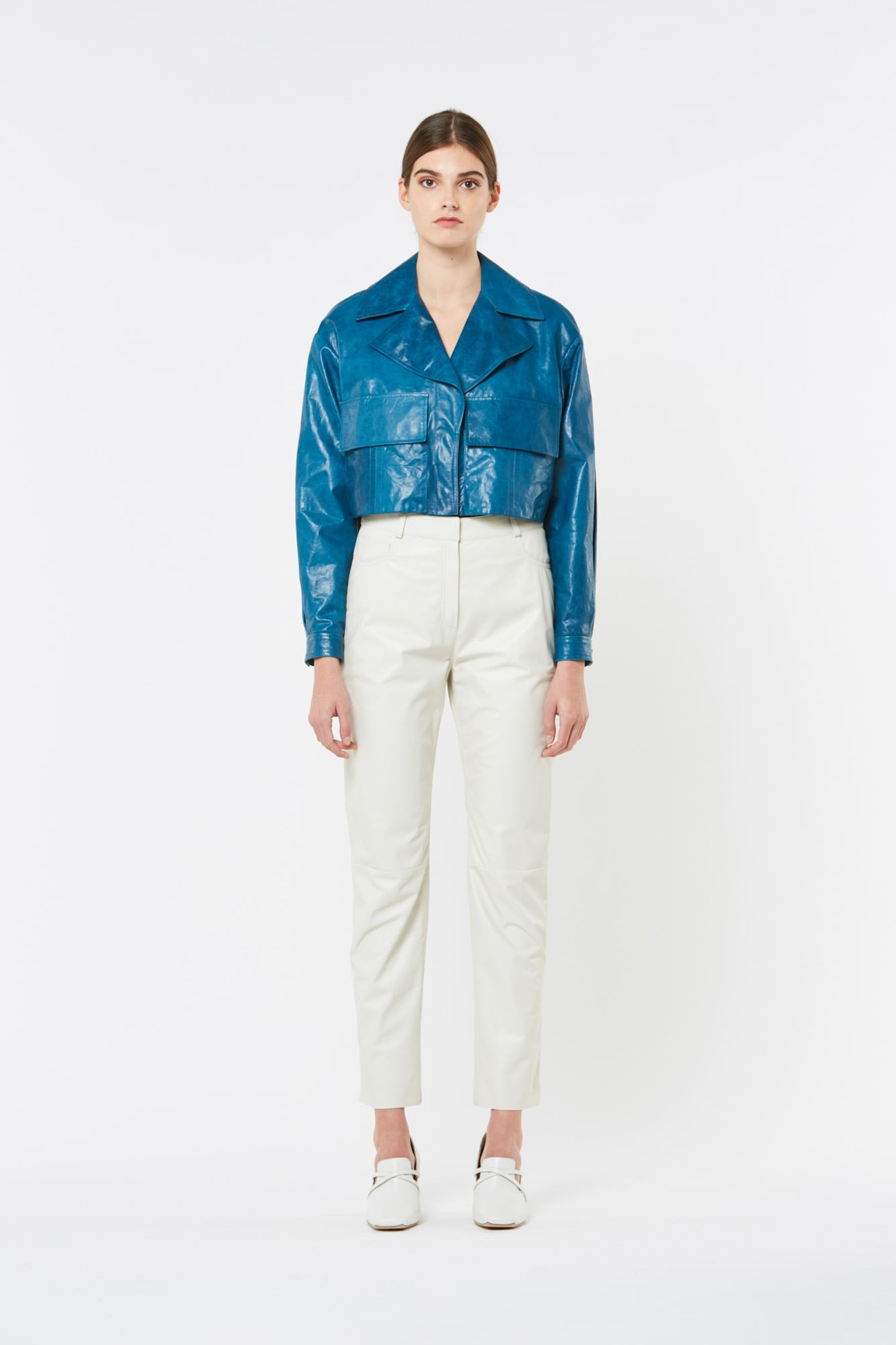 Blue Paper Leather Short Jacket