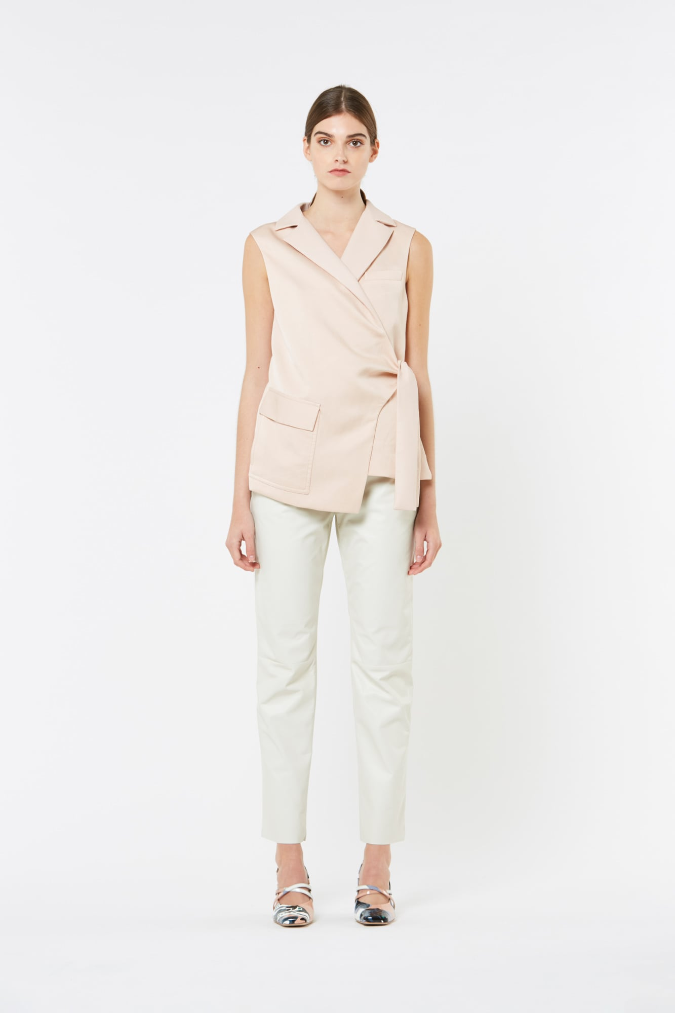 Pink Cameo Leather and Fluid Linen Cotton Gilet