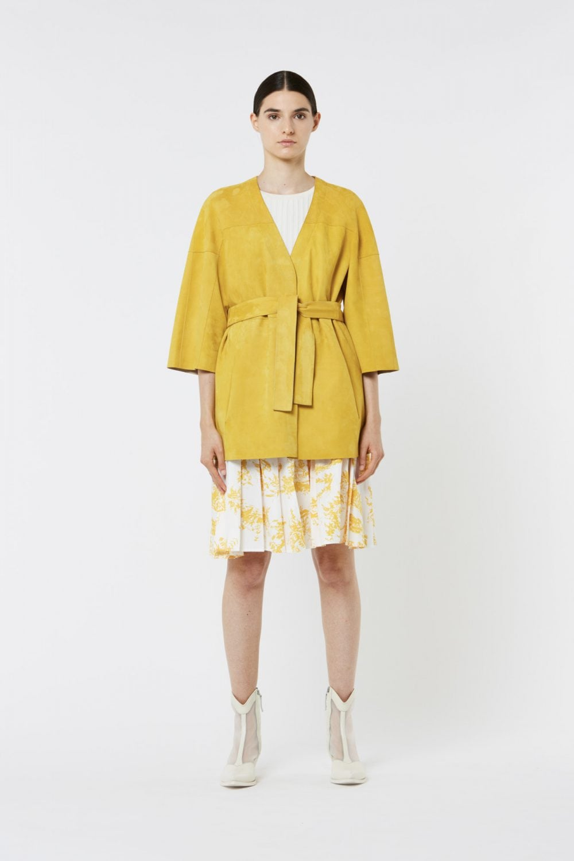Yellow Reversible Suede Belted Coat