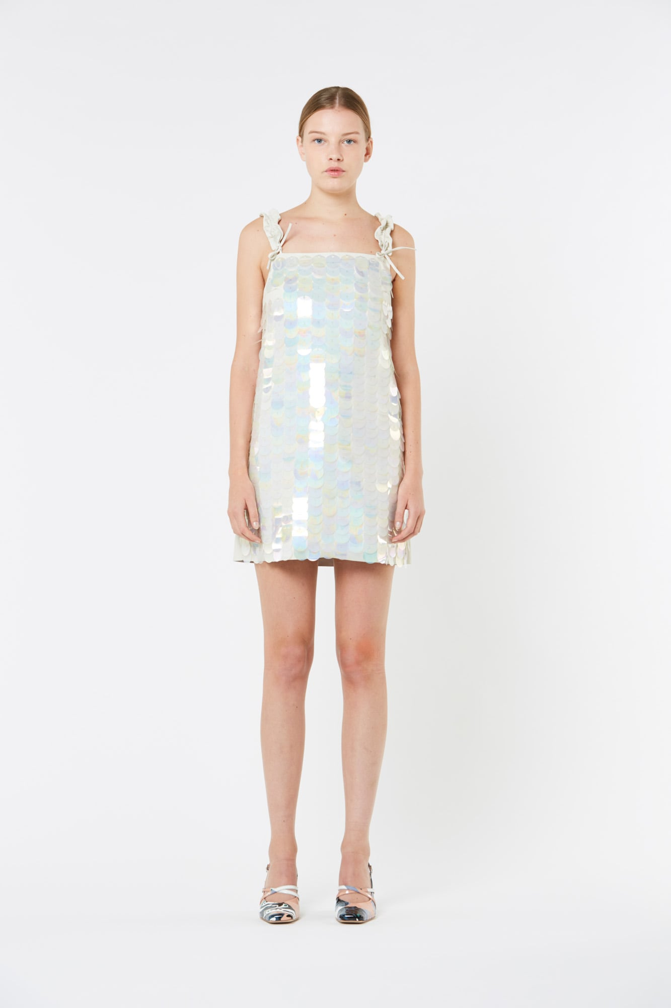 White Leather and Paillettes Dress