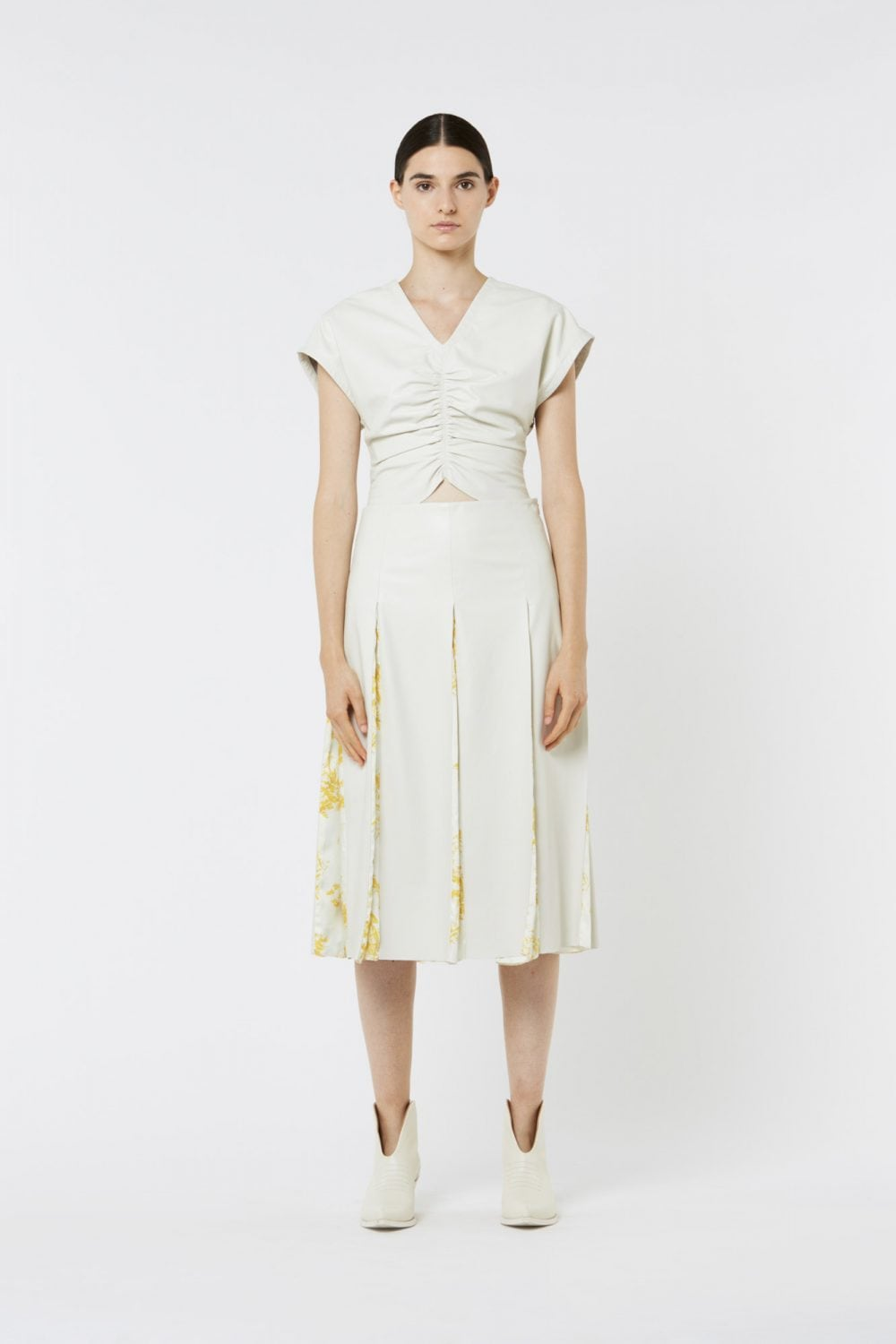 White Leather and Toile de Jouy in Twill Skirt