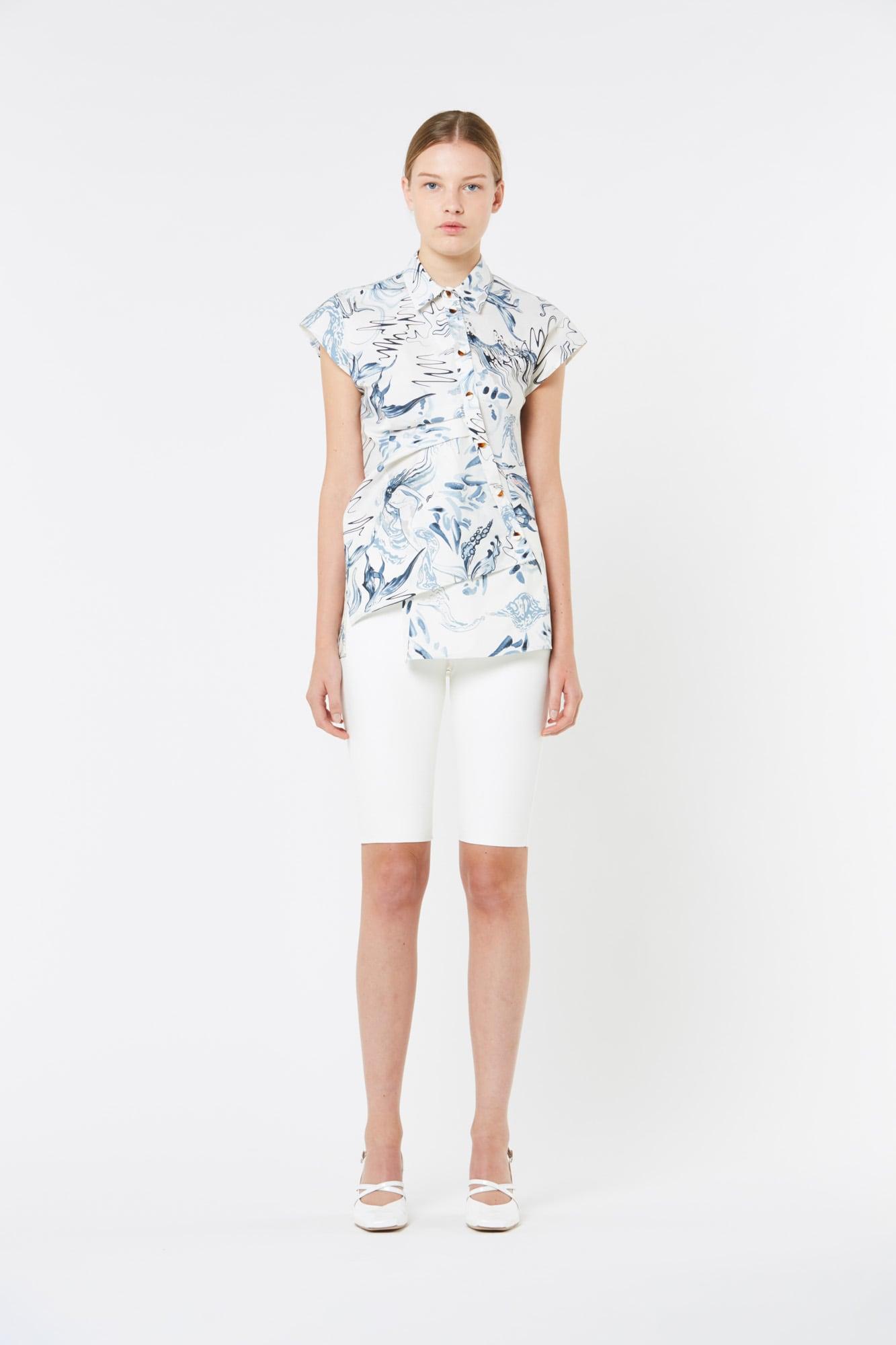 Printed Paper Popeline Shirt