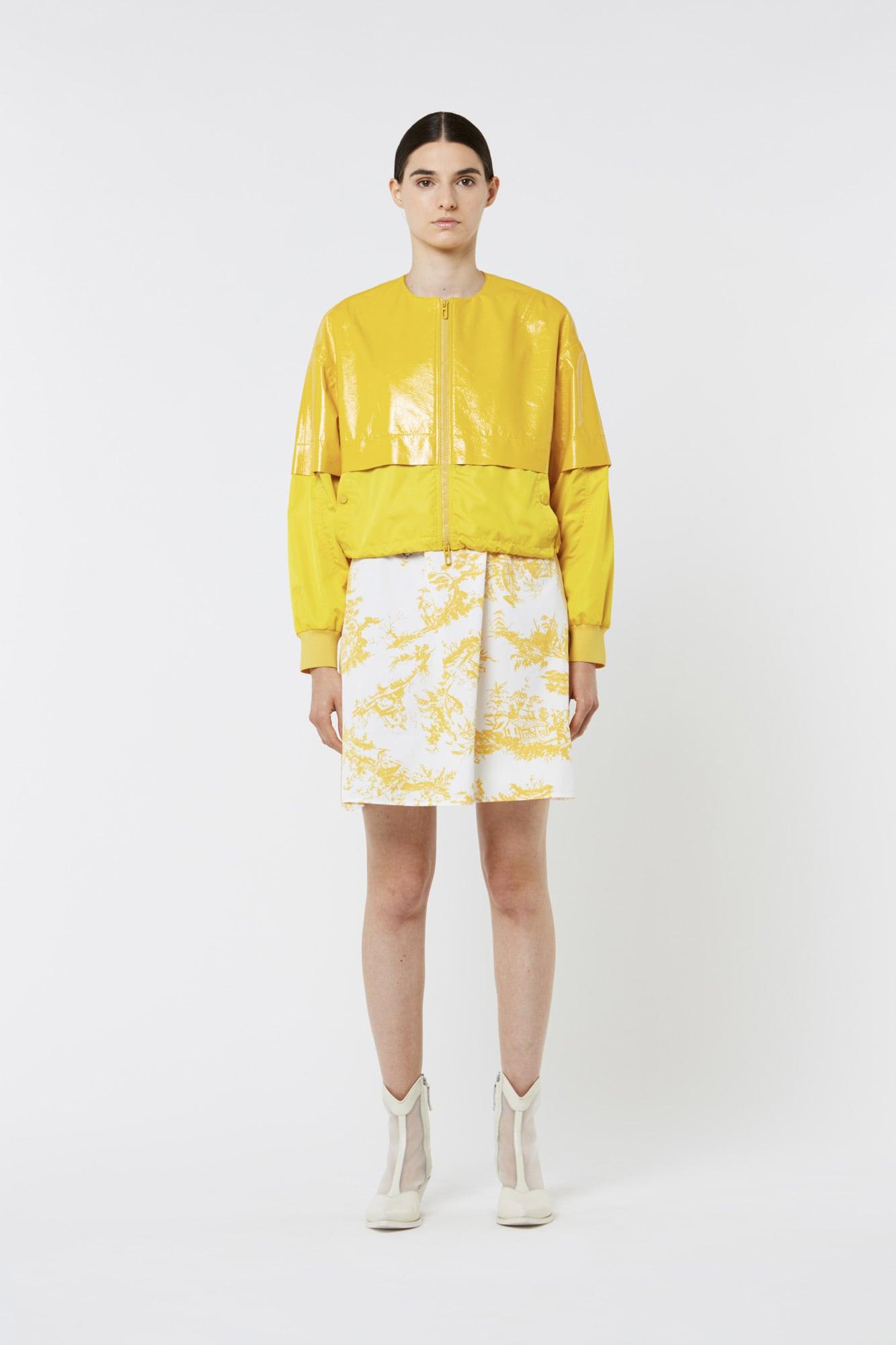 Yellow Nylon Leather Jacket