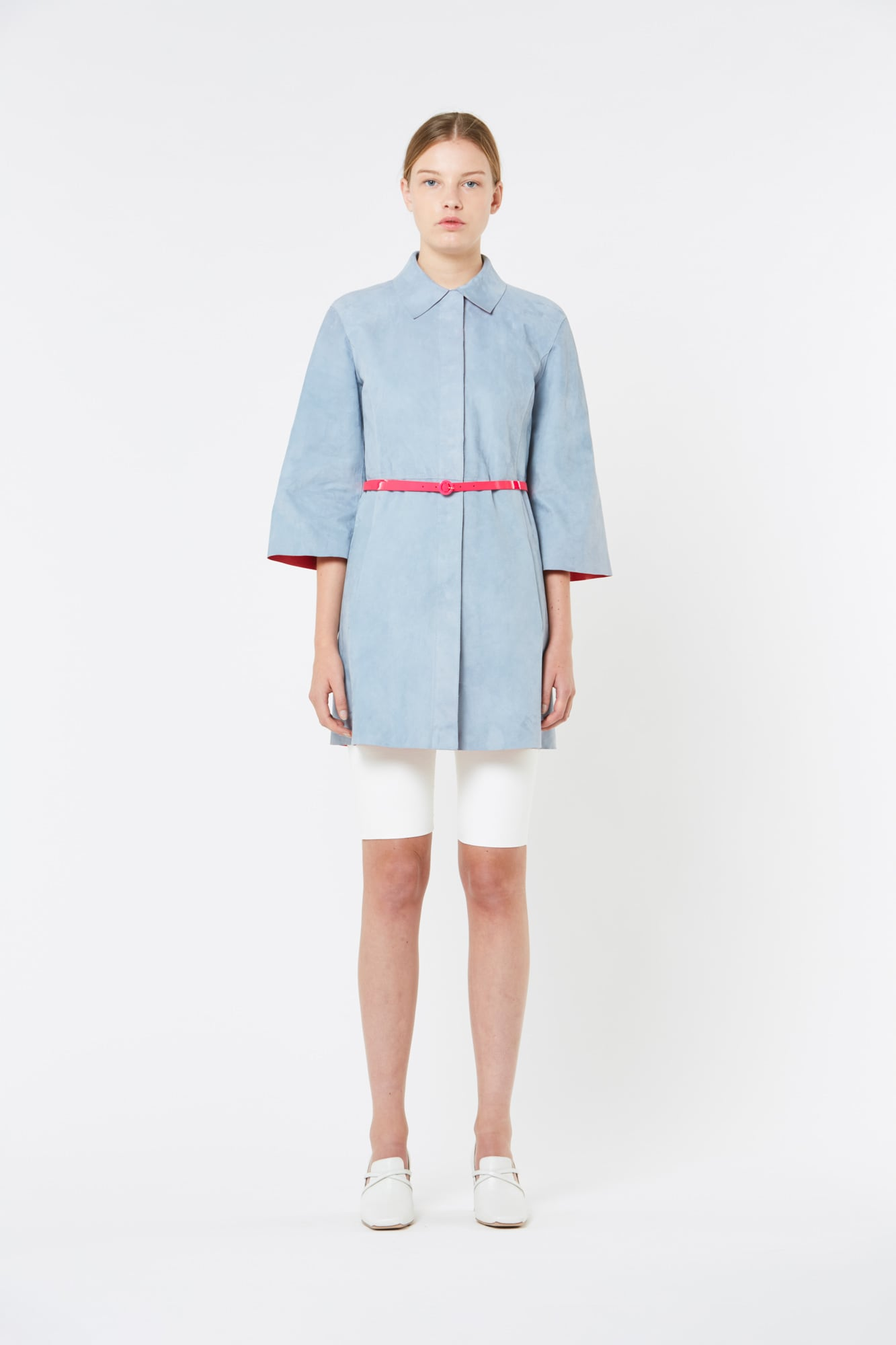 Reversible Suede Leather Coat with Belt