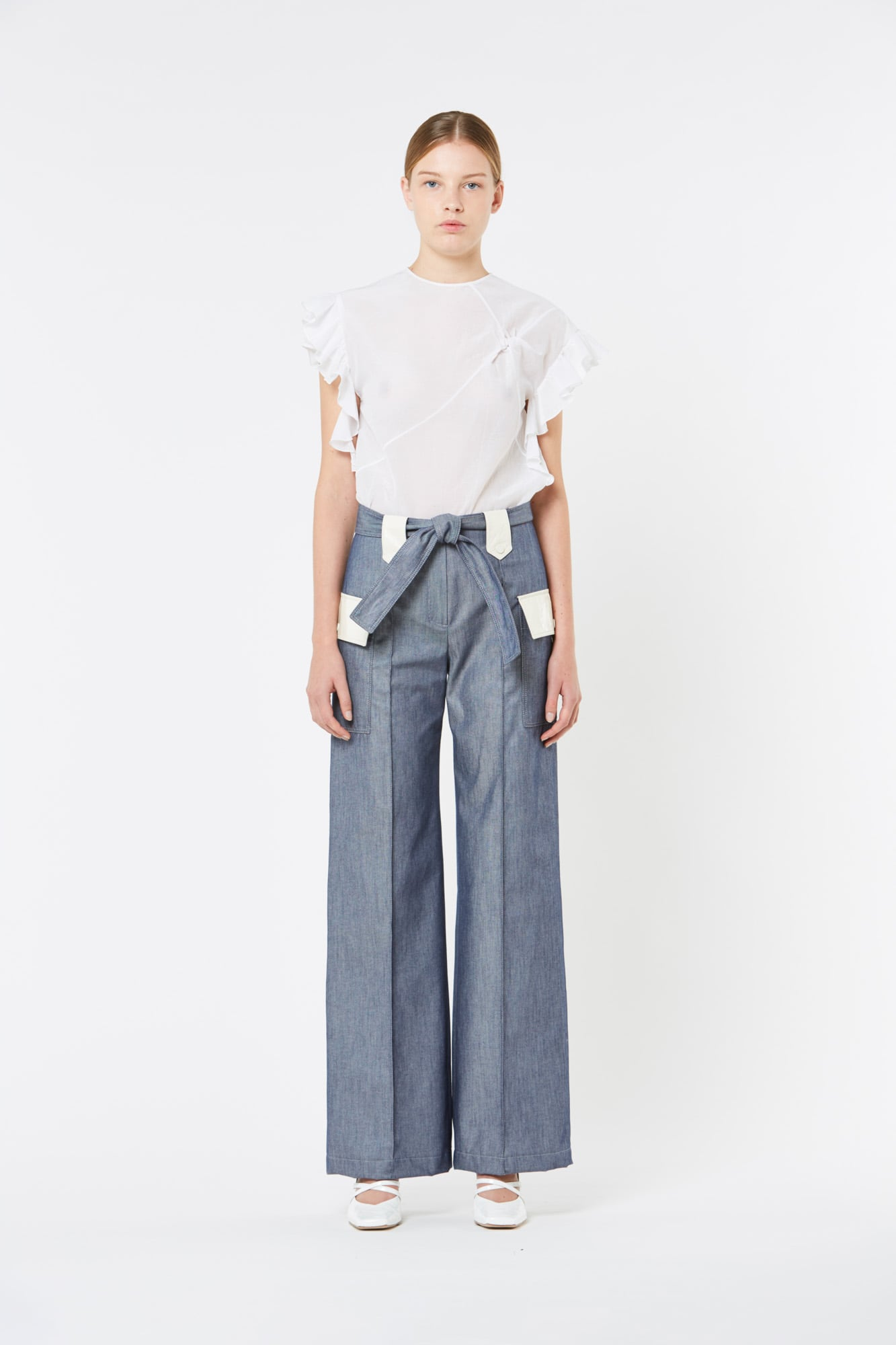 Denim Wide Pants with Leather Details