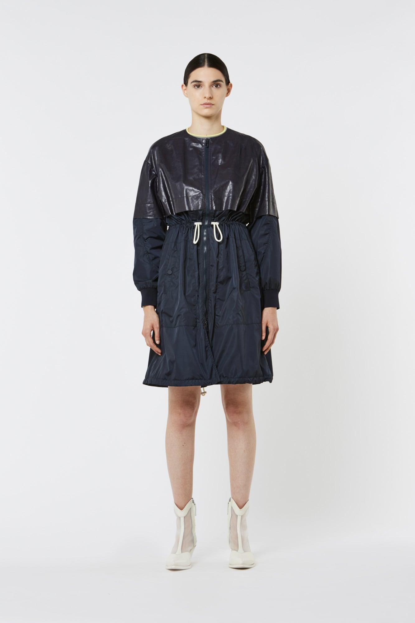 Dark Blue Leather and Nylon Parka