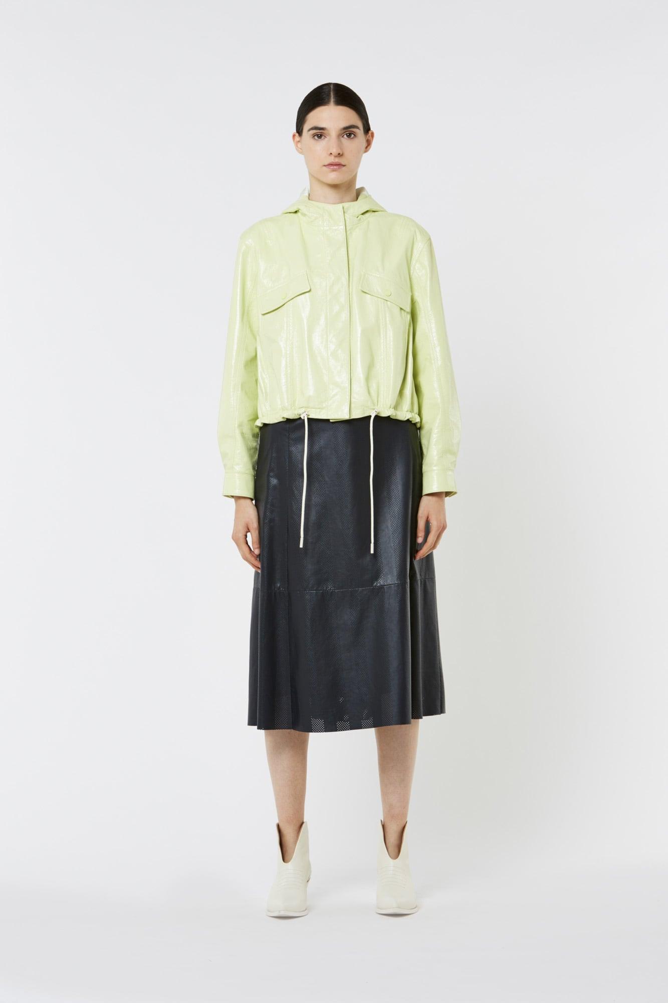 Lime Nylon Leather Jacket