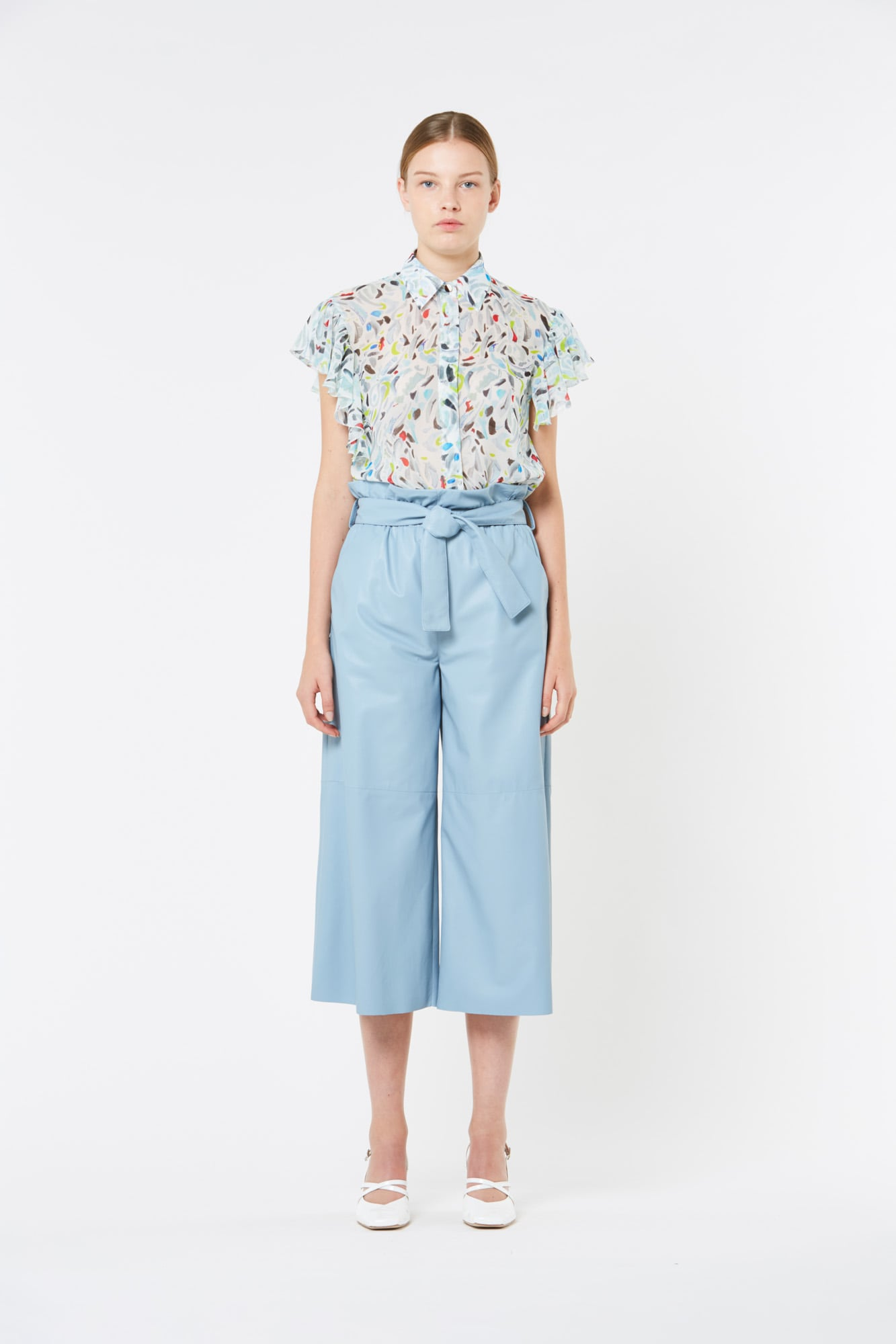 Light Blue Wide Pants with Belt