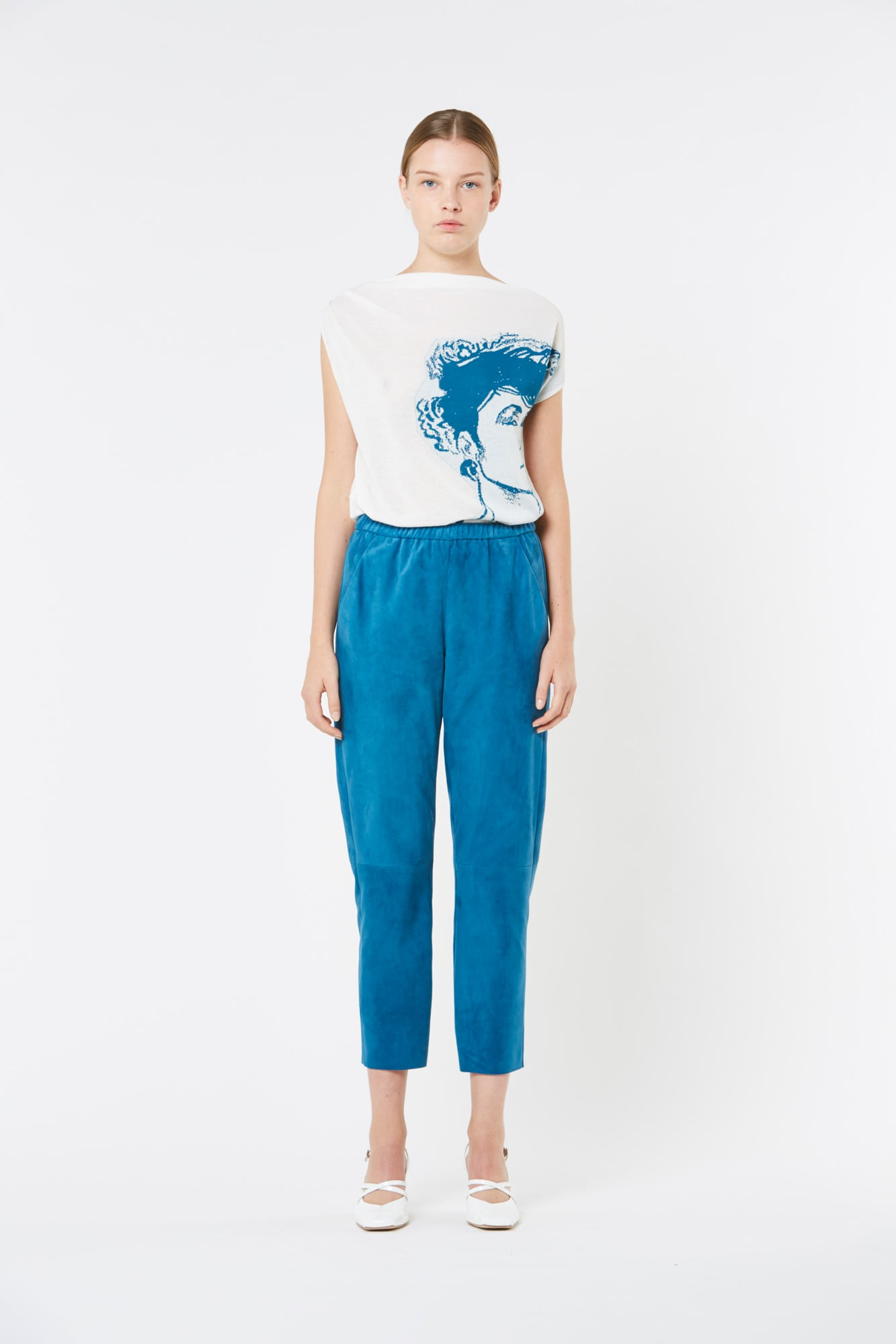 Blue Suede Leather Pants