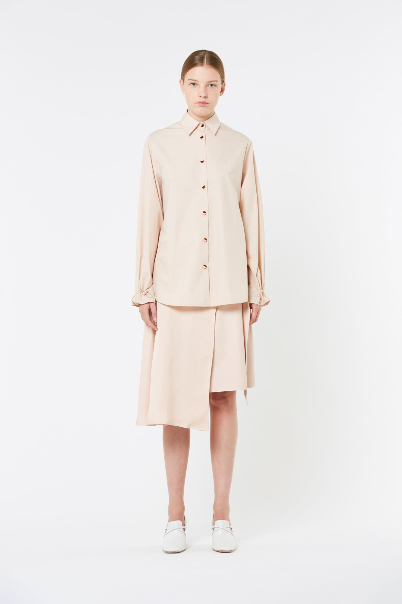 Pink Cameo Leather and Fluid Cotton Linen Skirt