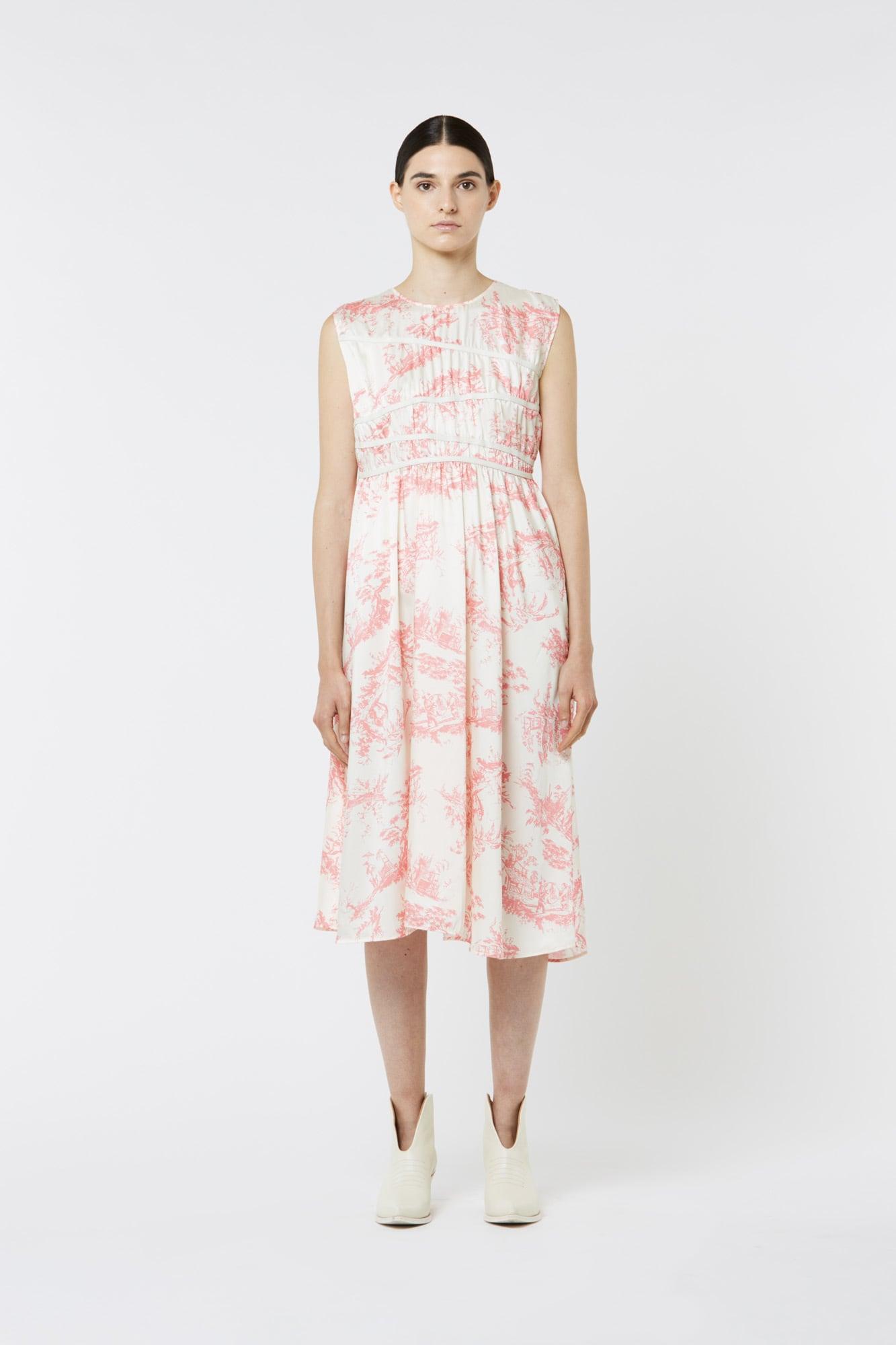 Toile de Jouy Sleeveless Dress in Silk Twill