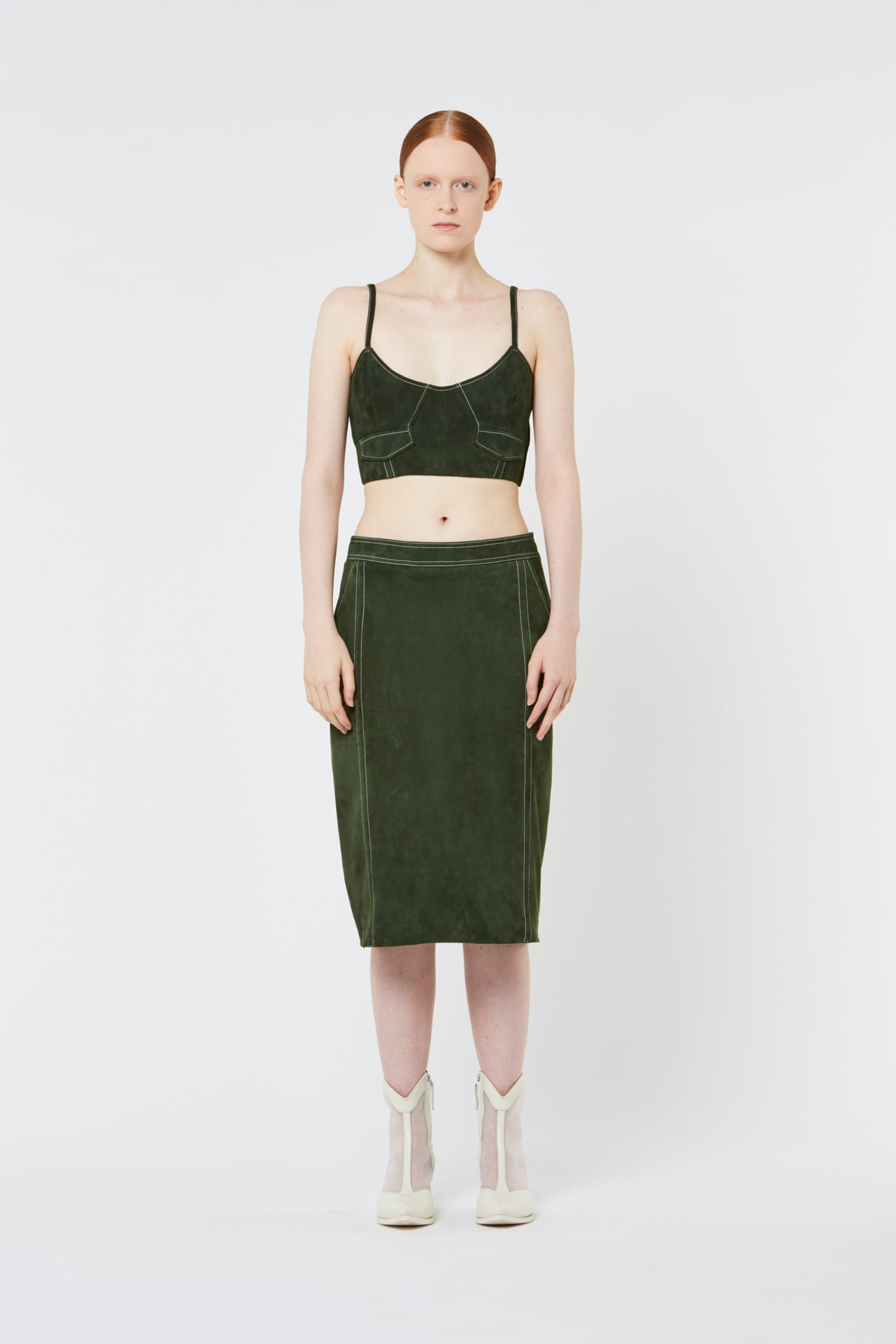 Dark Green Suede Top