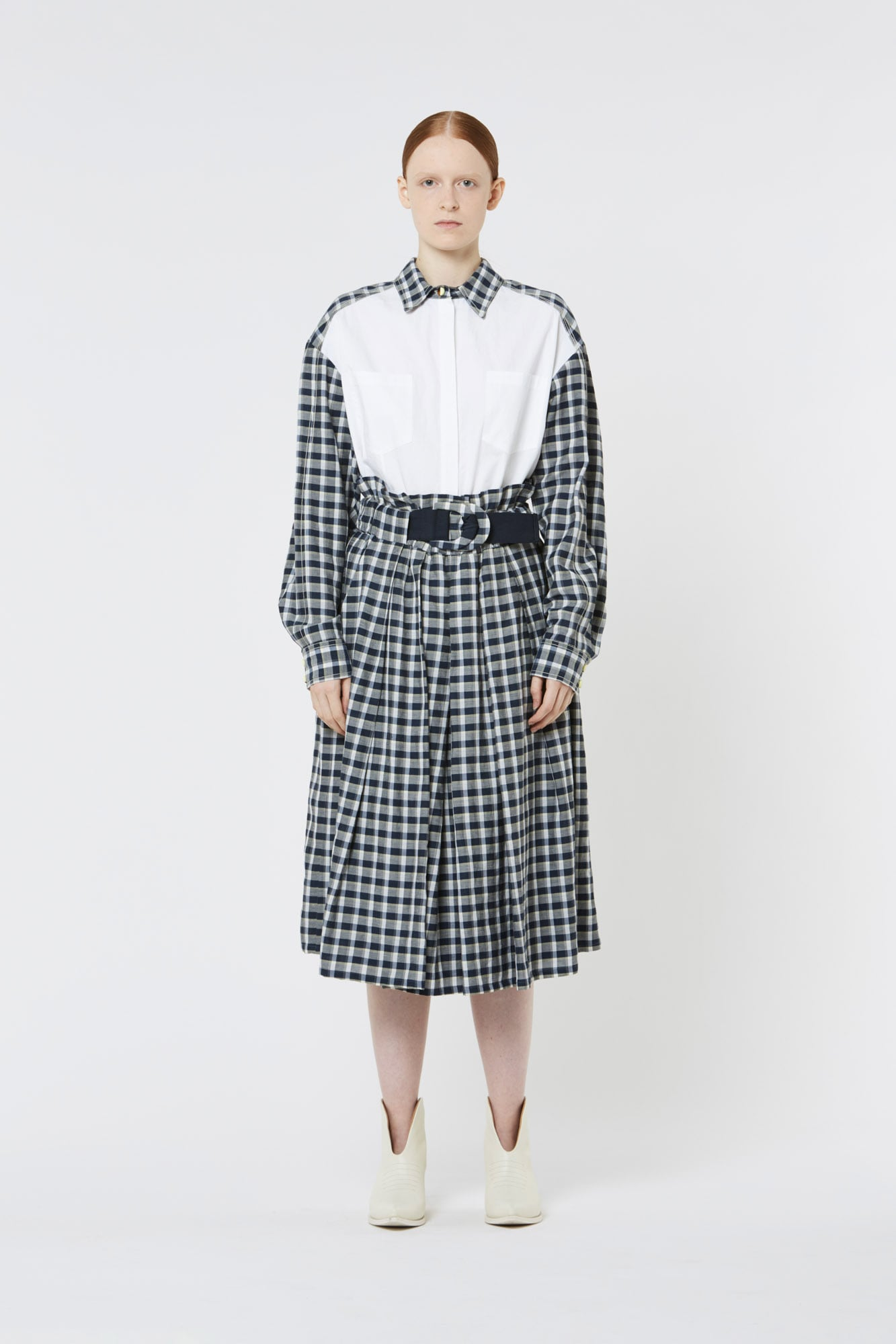White Shirt with Checked Sleeves