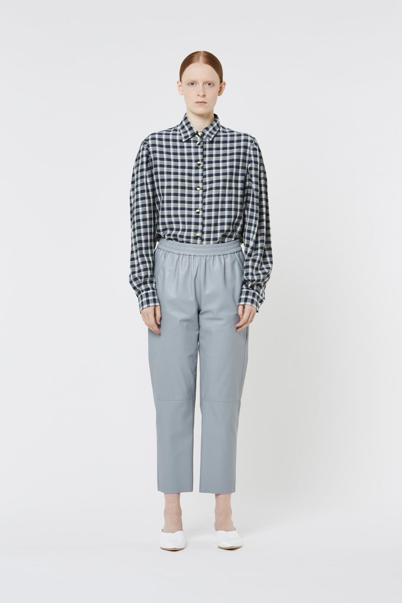 Light Blue Leather Soft Pants