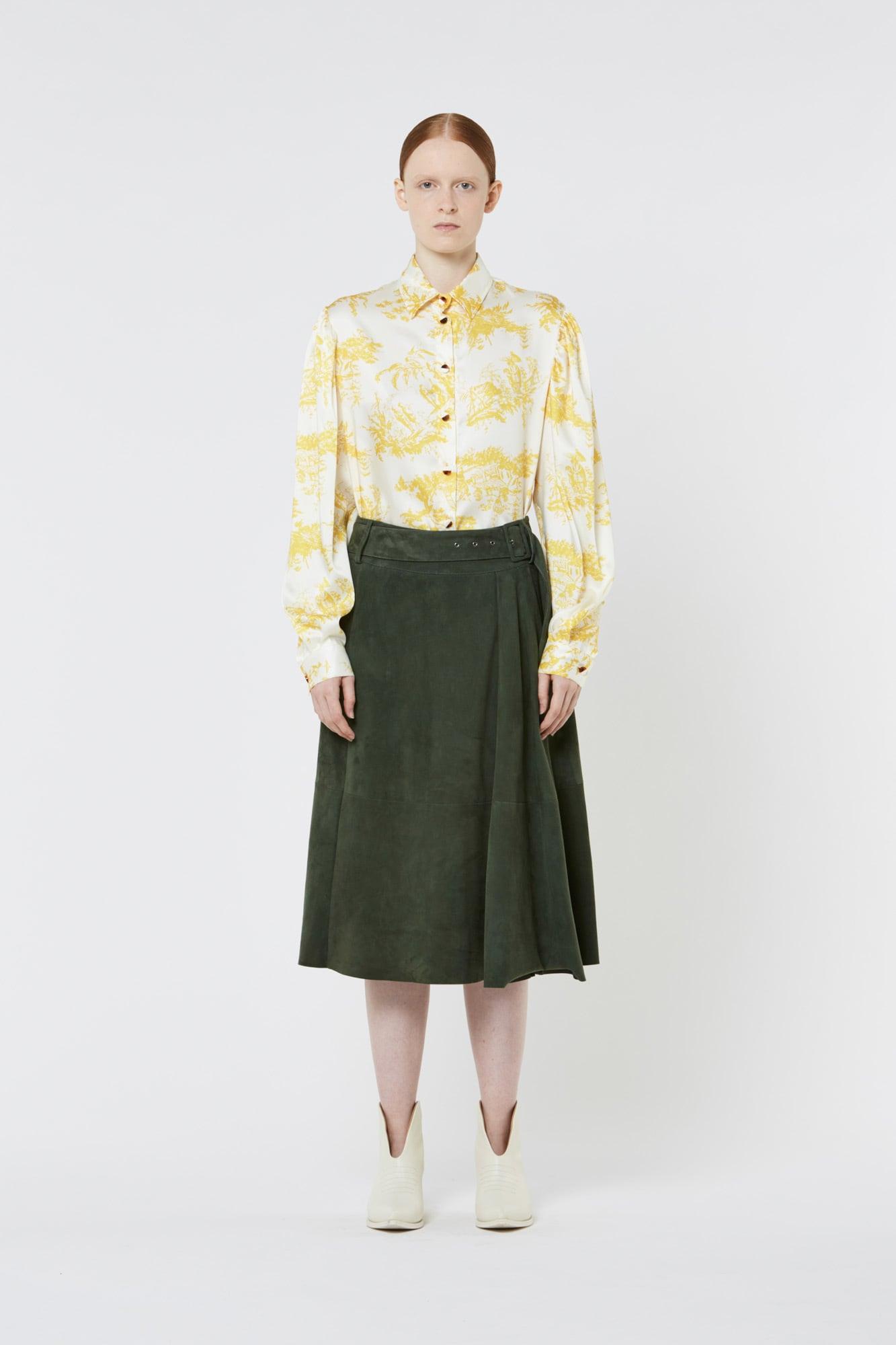 Dark Green Suede Skirt with Belt