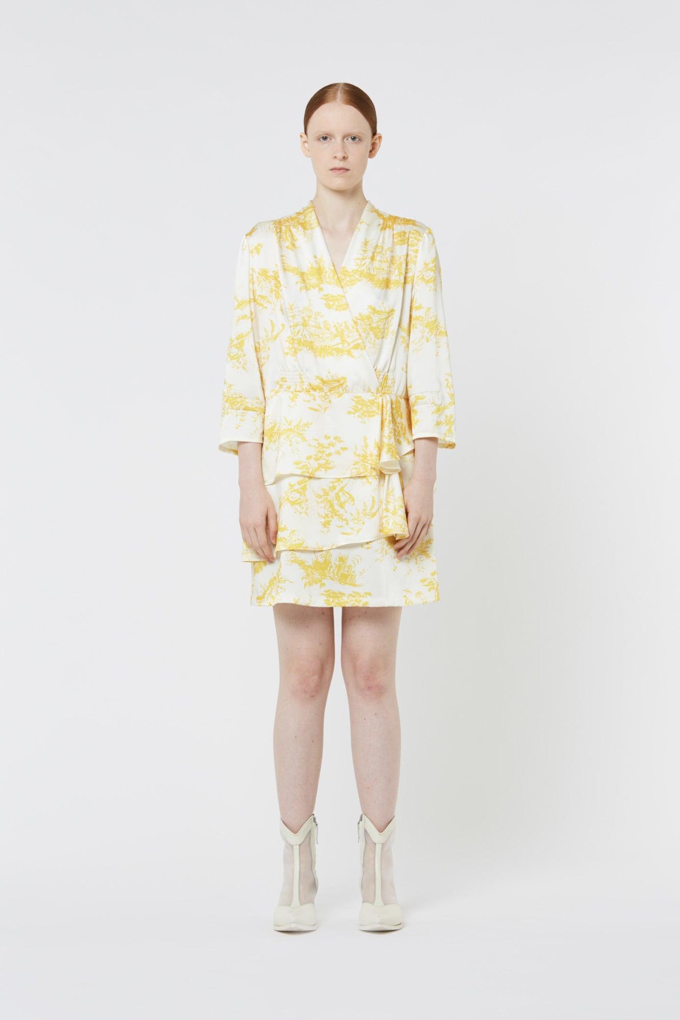 Toile de Jouy Dress in Silk Twill