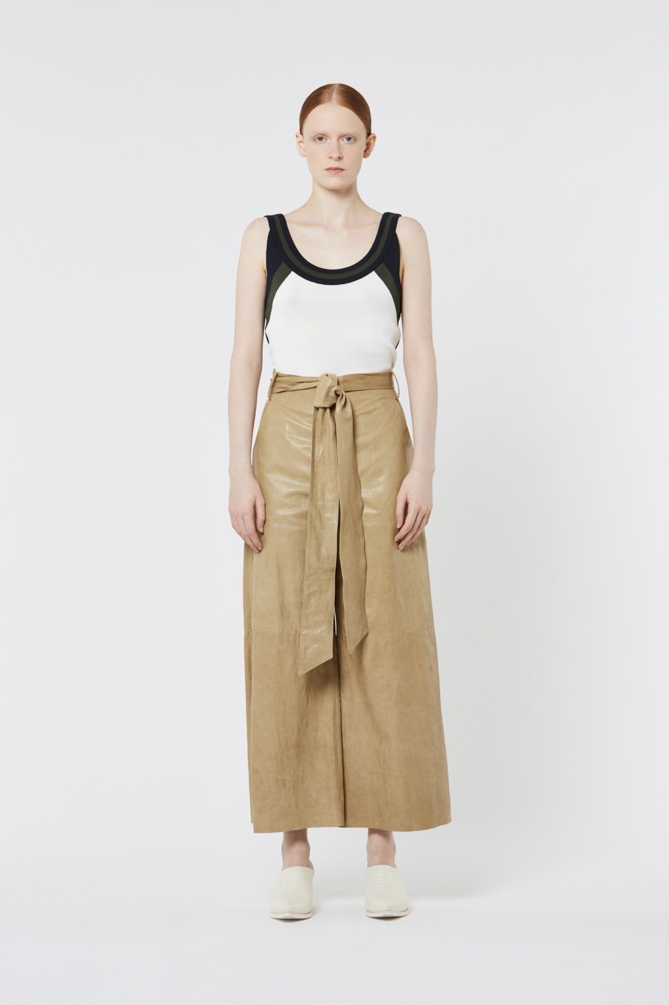 Khaki Leather Wide Pants