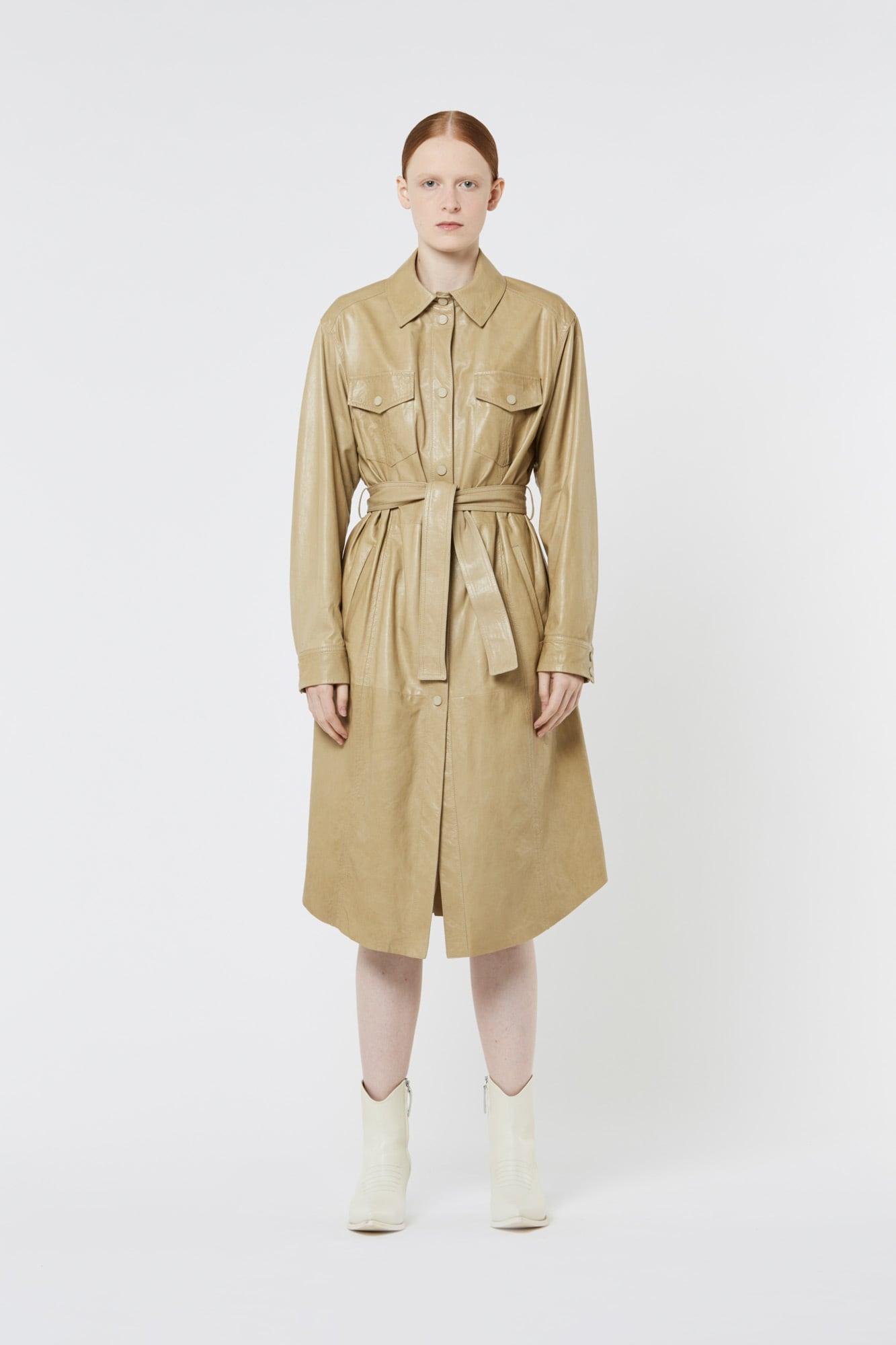 Khaki Nappa Leather Coat