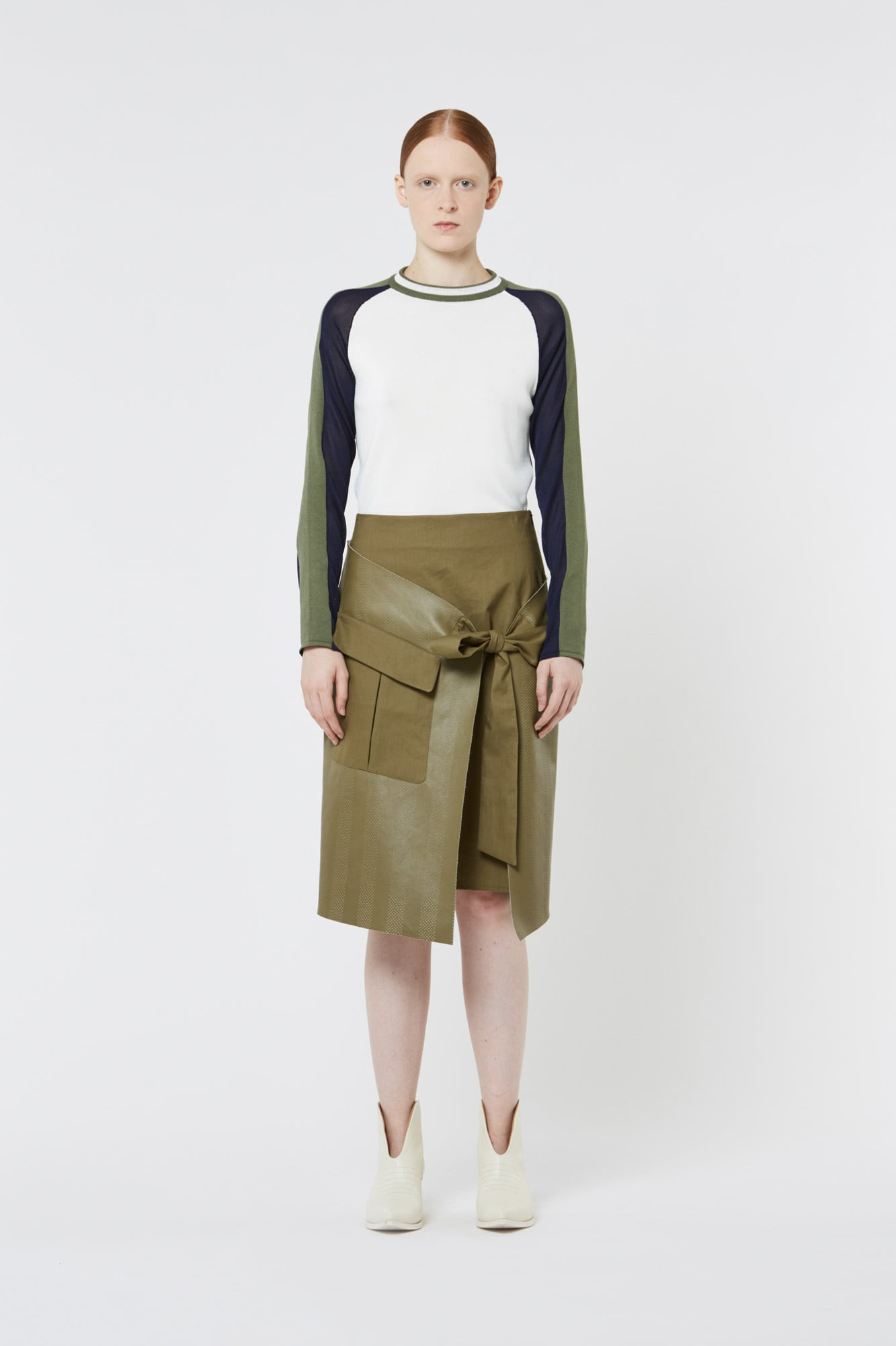 Dark Green Flared Leather Skirt