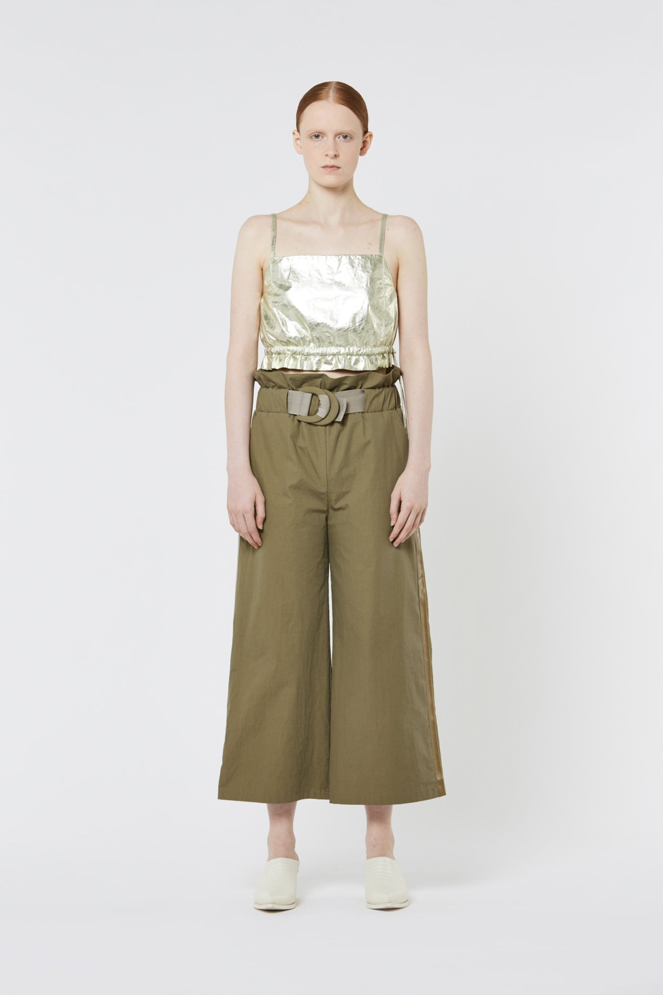 Dark Green Paper Popeline Wide Pants