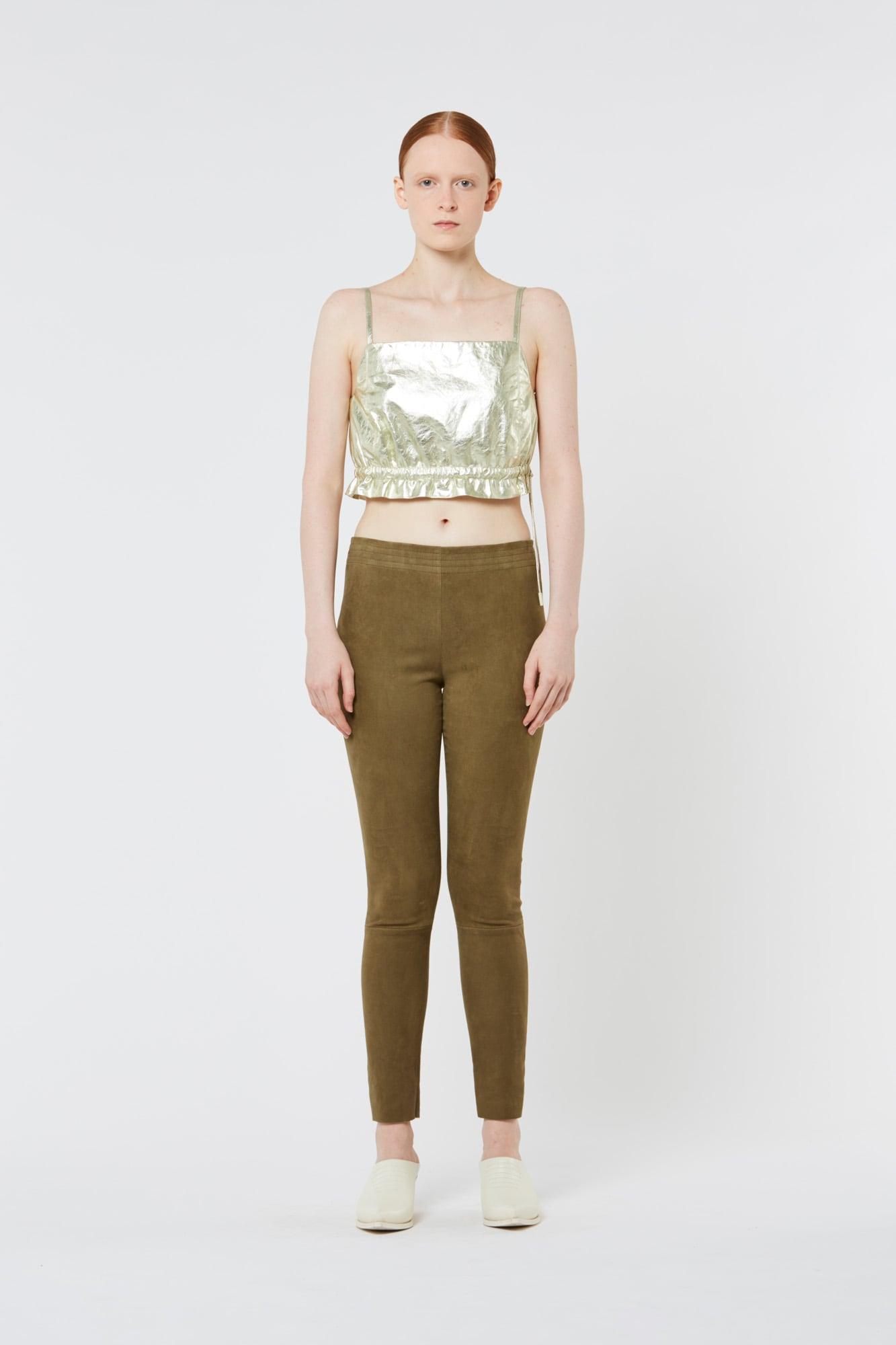 Dark Green Stretch Suede Pants
