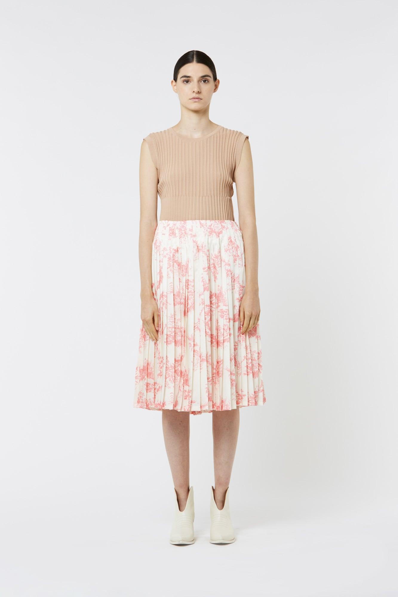 Toile de Jouy Skirt in Silk Twill