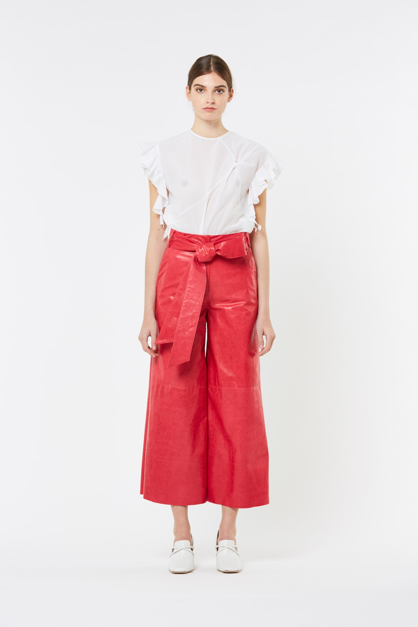 Raspberry Paper Leather Wide Pants