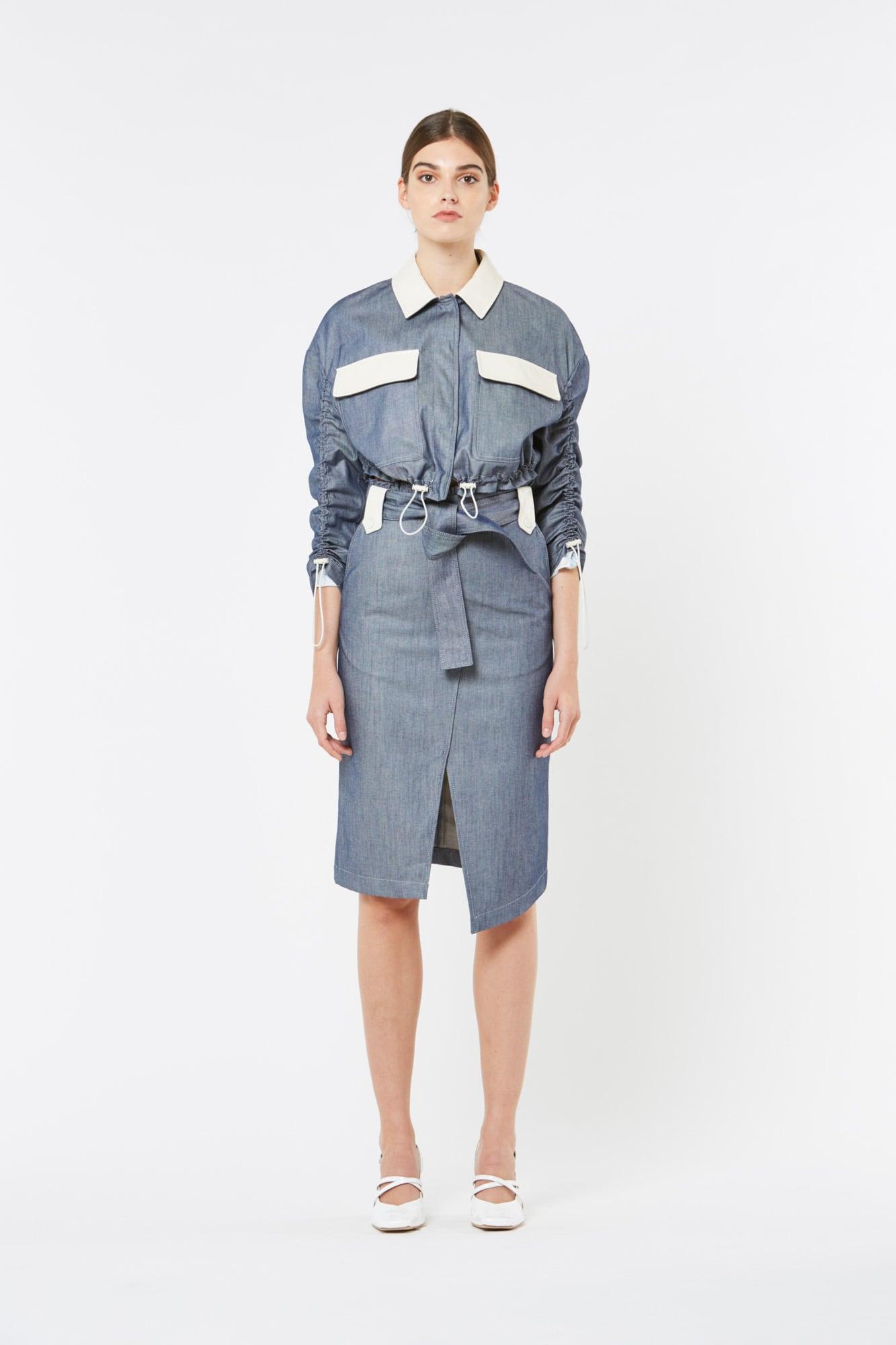 Denim Short Jacket with Leather Details