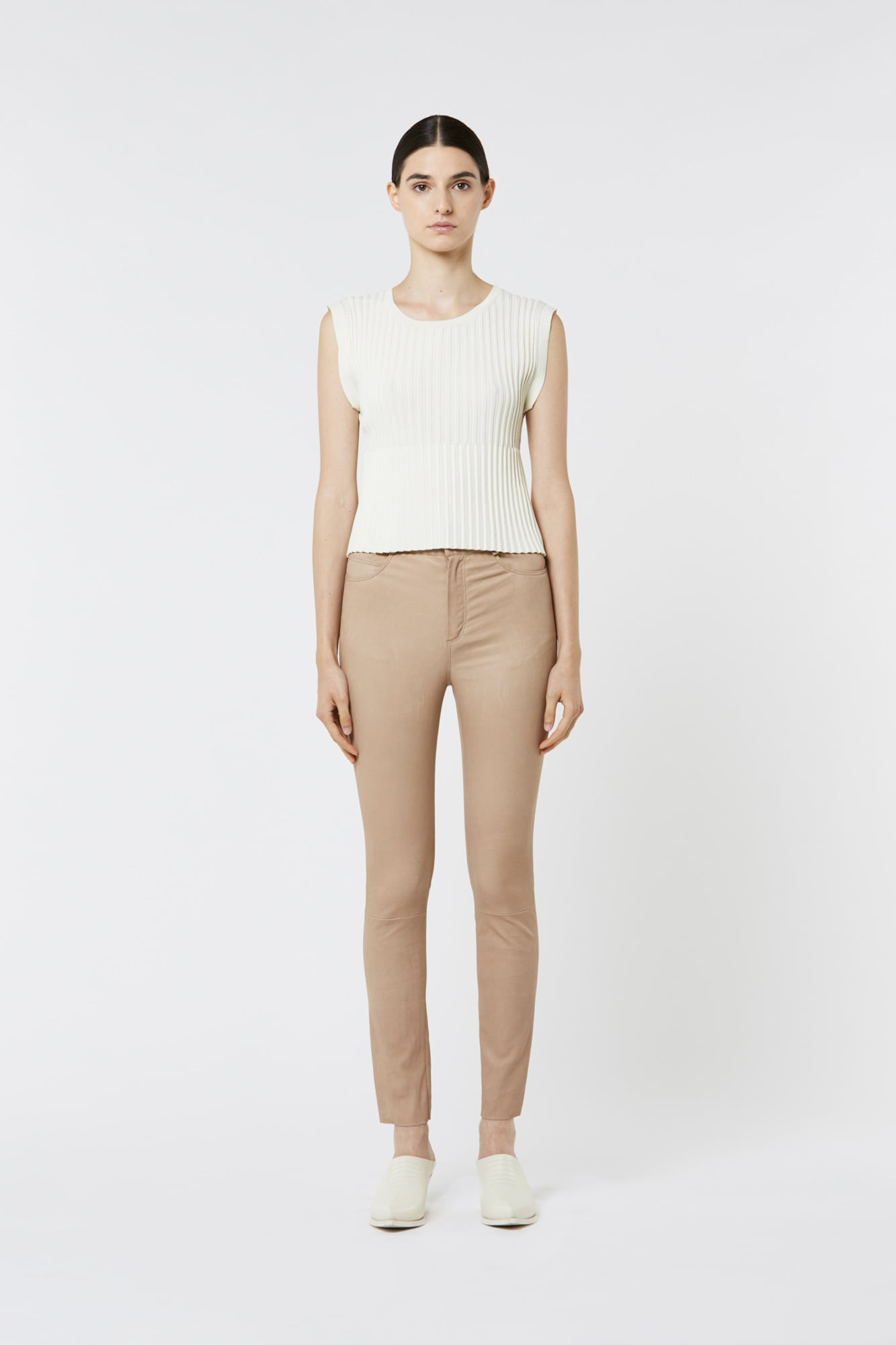 Beige Stretch Leather Pants